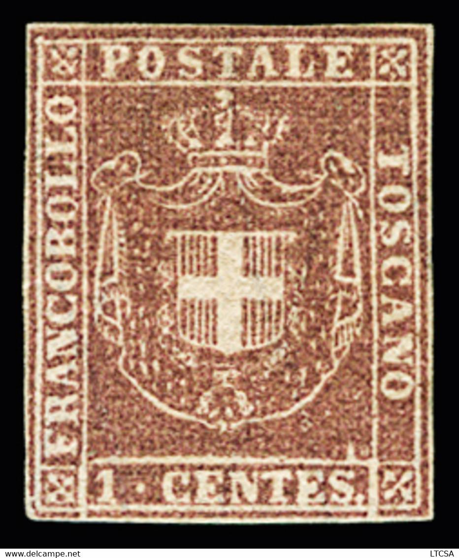 (*) 1860 1c Lilac, Good Margins All Around, Very Fine, Cert. Raybaudi (Sassone N° 17b) - Toskana