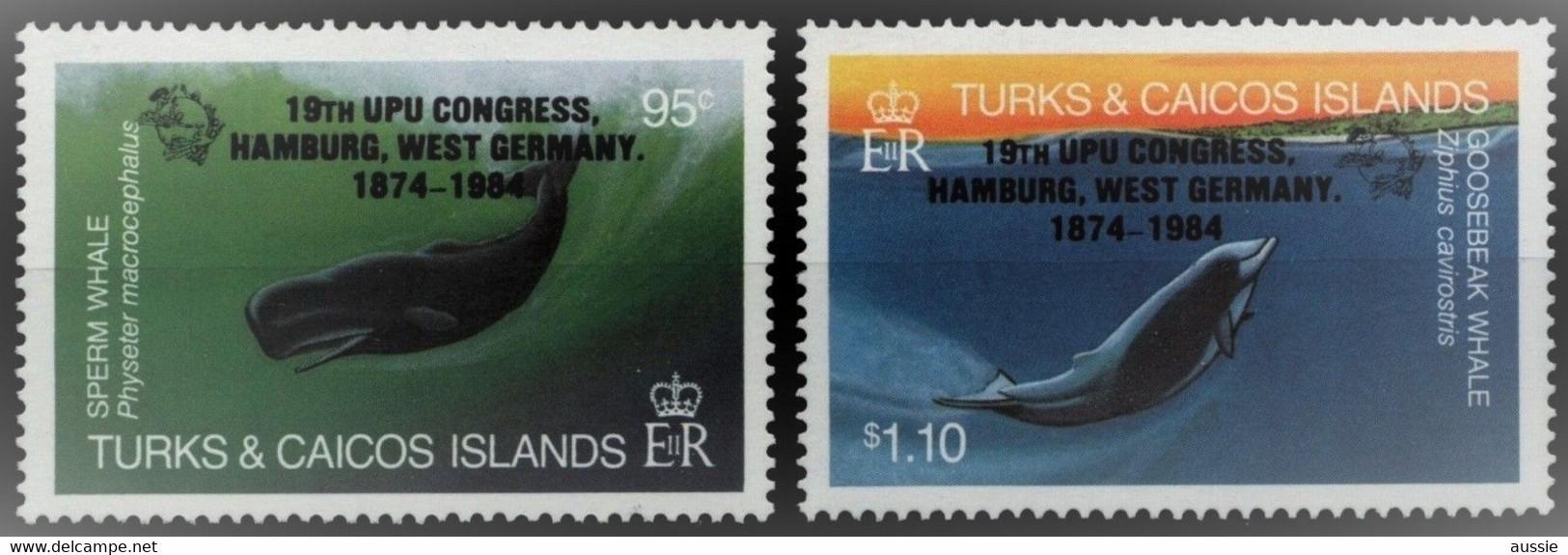 Turcs Caicos Turks Et Caiques 1984 Yvertn° 695-696 *** MNH Cote 9 € Faune Marine UPU Hamburg - Turks & Caicos