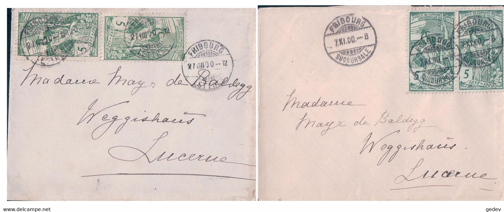 Suisse 2 Petites Lettres Timbres UPU 5 Ct, Fribourg - Lucerne (7.11, 27.8.1900) 9x12 - Covers & Documents