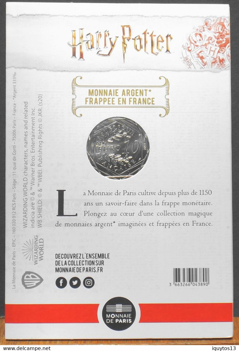 Fr. - HARRY POTTER - Pièce De 10 Euro Argent N° 3/18 HARRY POTTER Et La CHAMBRE Des SECRETS - Neuve Sous Blister - France