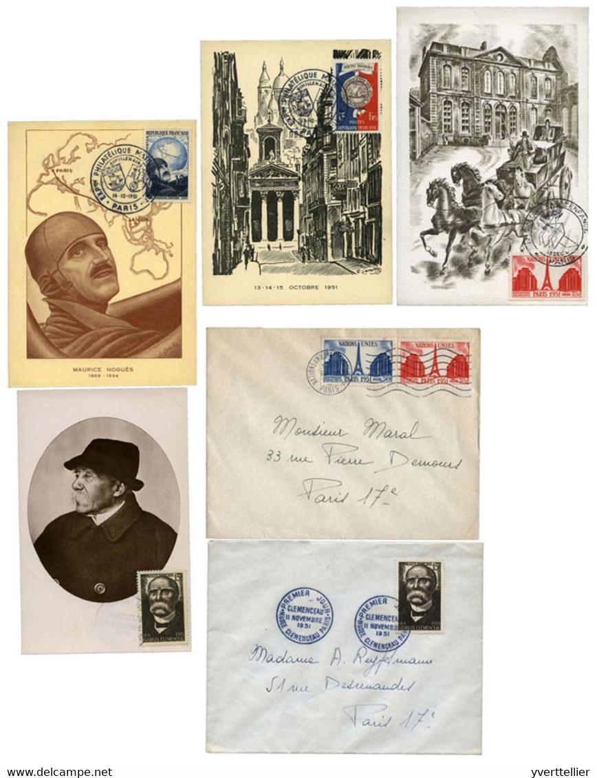 France  : N°906/907, N°911/12 Obl. Sur Cartes Ou Lettres - Ohne Zuordnung