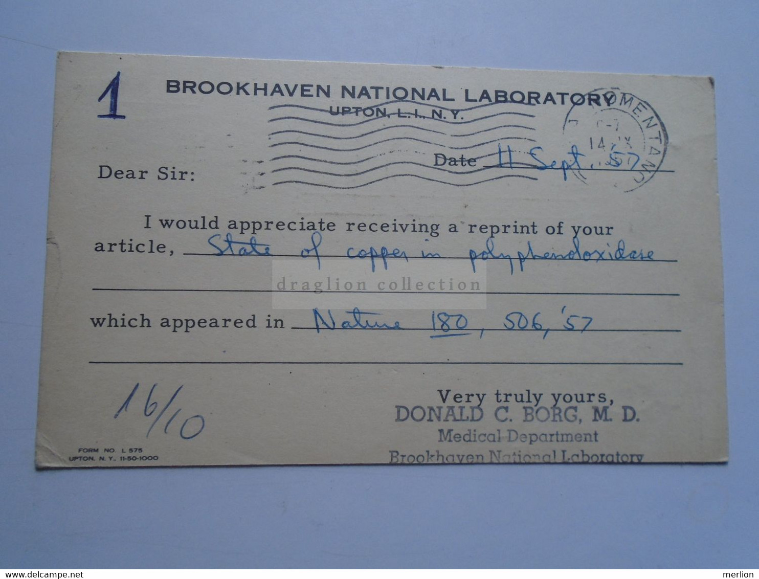 D179172 USA Stationery Uprated With Meter 1957-UPTON Brookhaven N.L. Donald C. Borg To Dr. Denis Kertesz-Rome - 1941-60