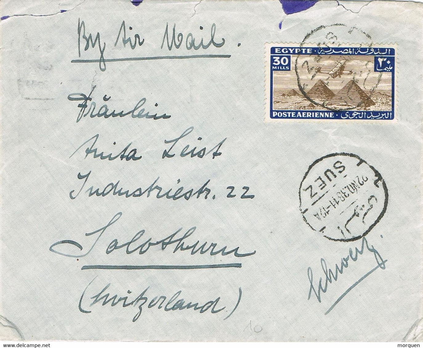 40404. Carta Aerea SUEZ (Egypt) 1938. Piramids Stamp - Covers & Documents