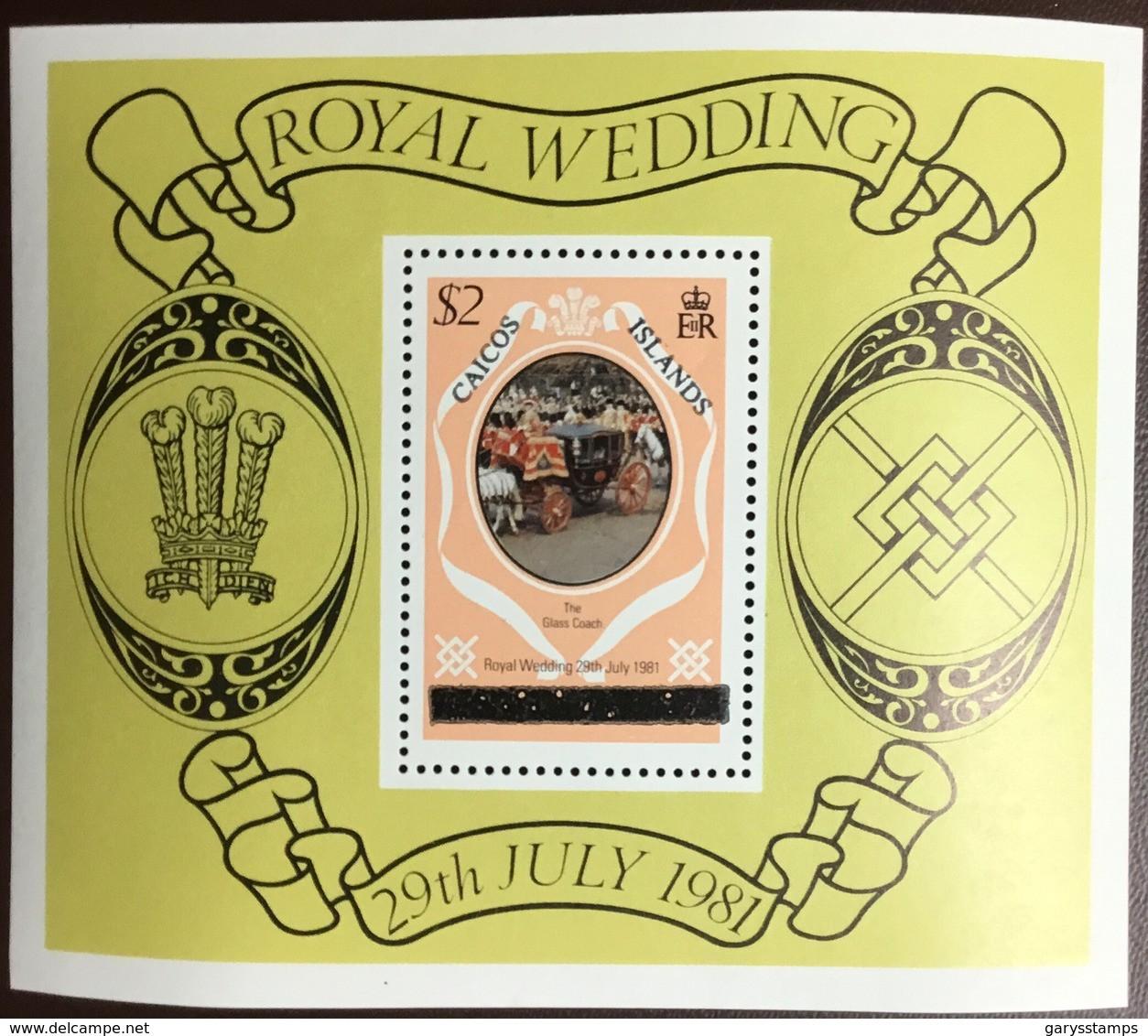 Caicos Islands 1981 Royal Wedding Upper Case Minisheet MNH - Turks & Caicos