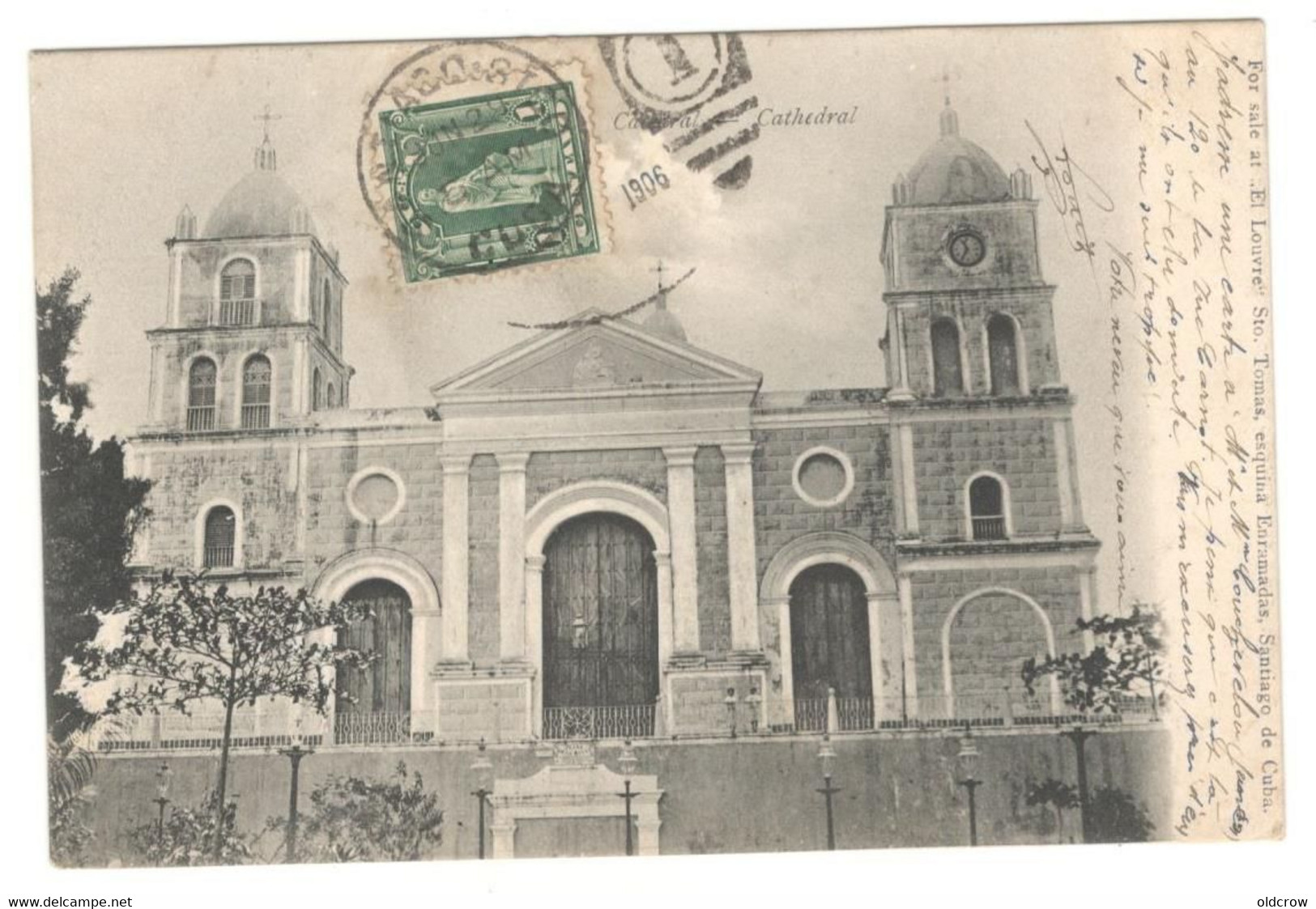 "Cuba Postcard 1906 Used  "" Santiago De Cuba Cathedral""  Stamps, Religion, Catholic See Description AA - Cuba"
