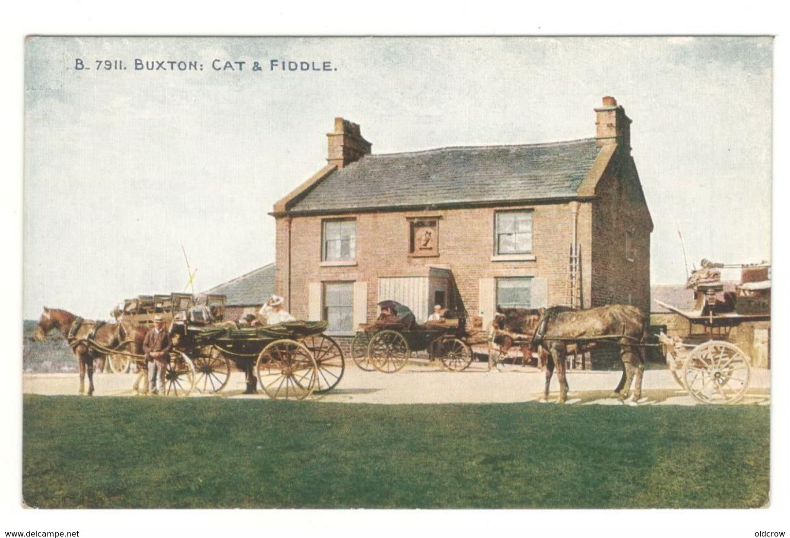 """Postcard Vintage """" Cat And Fiddle Inn Lot 2 """" Near Buxton Unused. Horses, Wagons.  See Description AA - Other"""