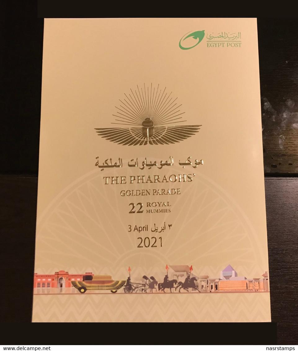 """Egypt - 2021 - New - Folder """"2 FDC & Mini Sheet"""" - ( THE PHARAOHS Golden Parade - 3 April 2021 ) - Nuovi"""
