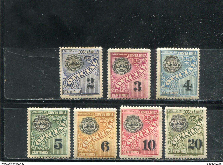 Costa Rica 1926 Yt 55-61 * Timbres De Service - Costa Rica