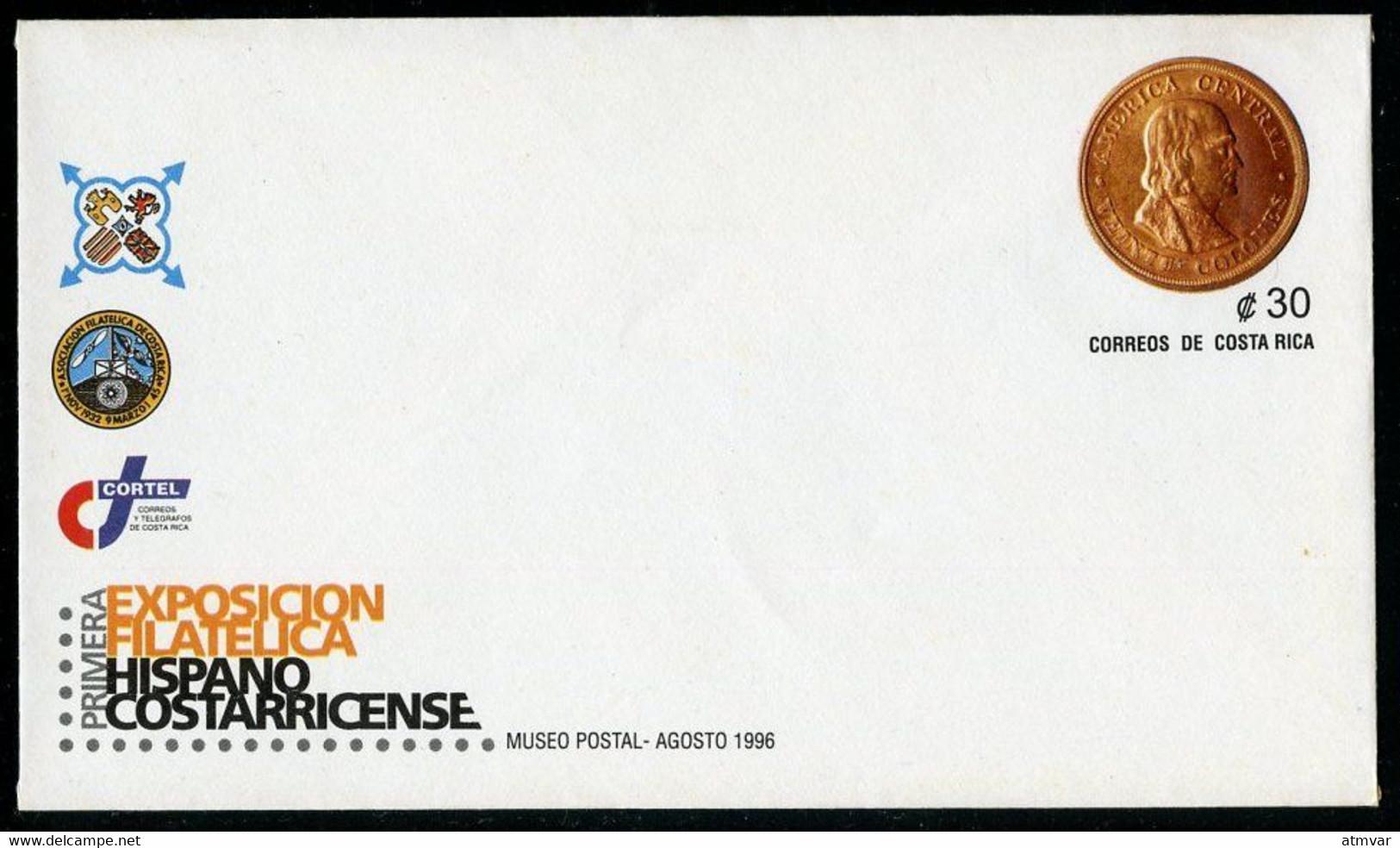 COSTA RICA (1996) - Primera Exposición Filatélica Hispano Costarricense - Enteropostal / Postal Stationnery - Gold Coin - Costa Rica