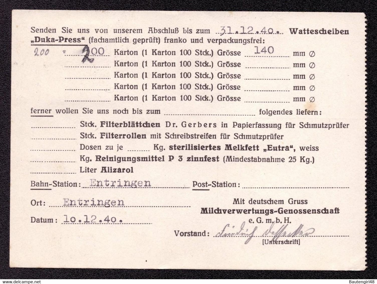 DR Postkarte Von ENTRINGEN Nach Reutlingen - 15.12.40 - Mi.751 Artushof In Danzig V. Milchverwertungsgenossenschaft - Briefe U. Dokumente