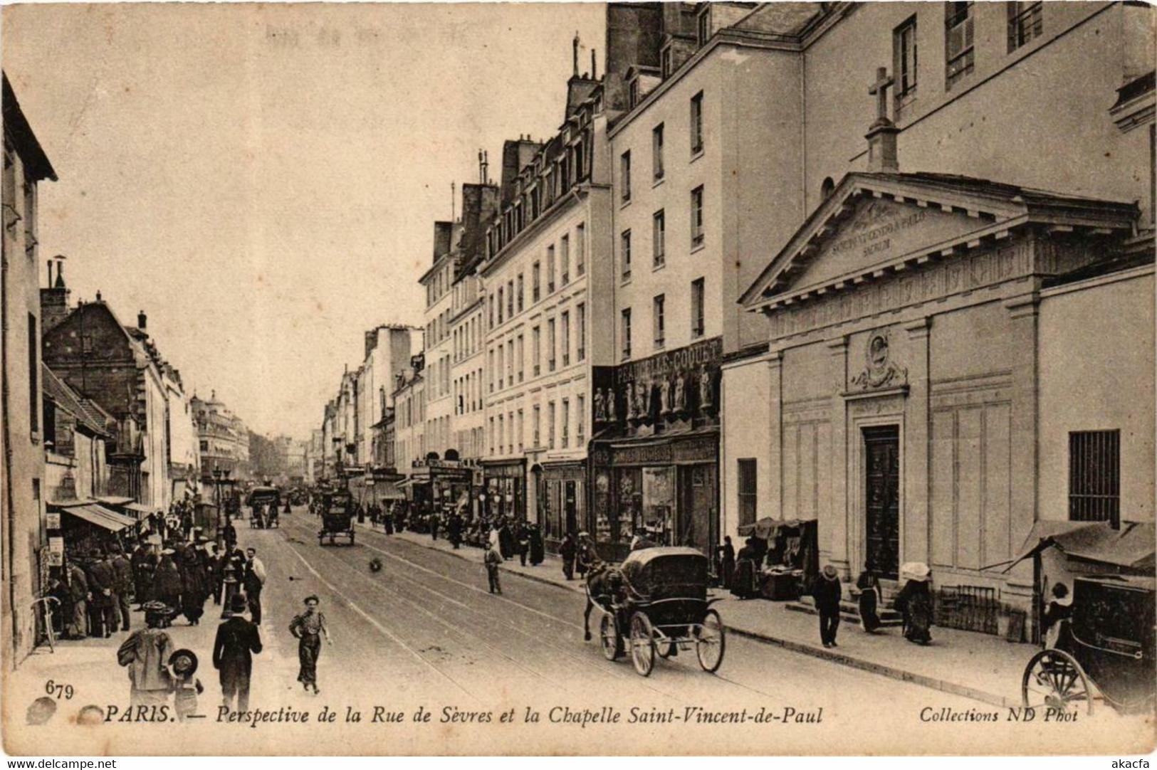 CPA AK PARIS 7e Rue De Sevres. Chapelle St-VINCENT-de-PAUL ND Phot (573629) - Churches