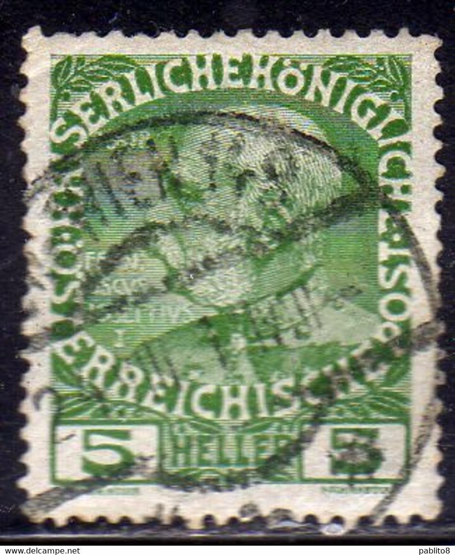 AUSTRIA ÖSTERREICH 1908 1916 FRANZ JOSEF EMPEROR 5h USED USATO OBLITERE' - Used Stamps