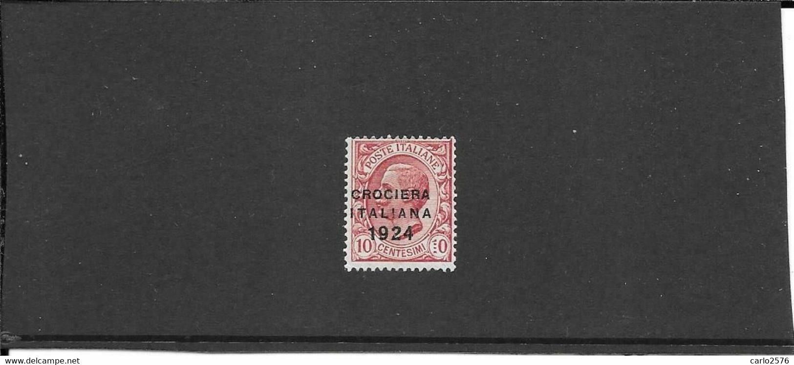 Italia 1924 Crociera 10 Ct. La Rara Varietà Dei 4 Puntini Anzichè 1. Nuovo**mnh, Freschissimo (Sassone 162c) (ref 1591f) - Mint/hinged