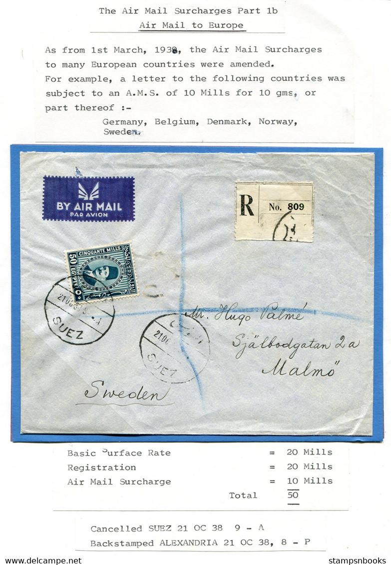 1938 Egypt Registered Airmail Cover Suez - Malmo Sweden Via Alexandria - Covers & Documents