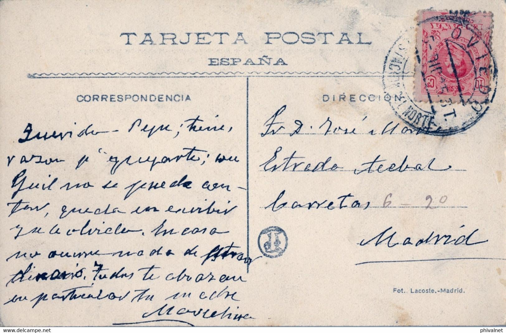 """1915 , ASTURIAS , T.P. CIRCULADA , MAT. """" OVIEDO / ESTACIÓN DEL NORTE """" , MADRID - PLAZA DEL RASTRO - Cartas"""