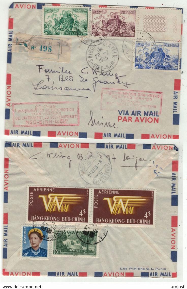 Viêt-Nam // Vietnam //  Lettre Recommandée FDC  Pour Lausanne (Suisse) 20/7/1955 - Vietnam