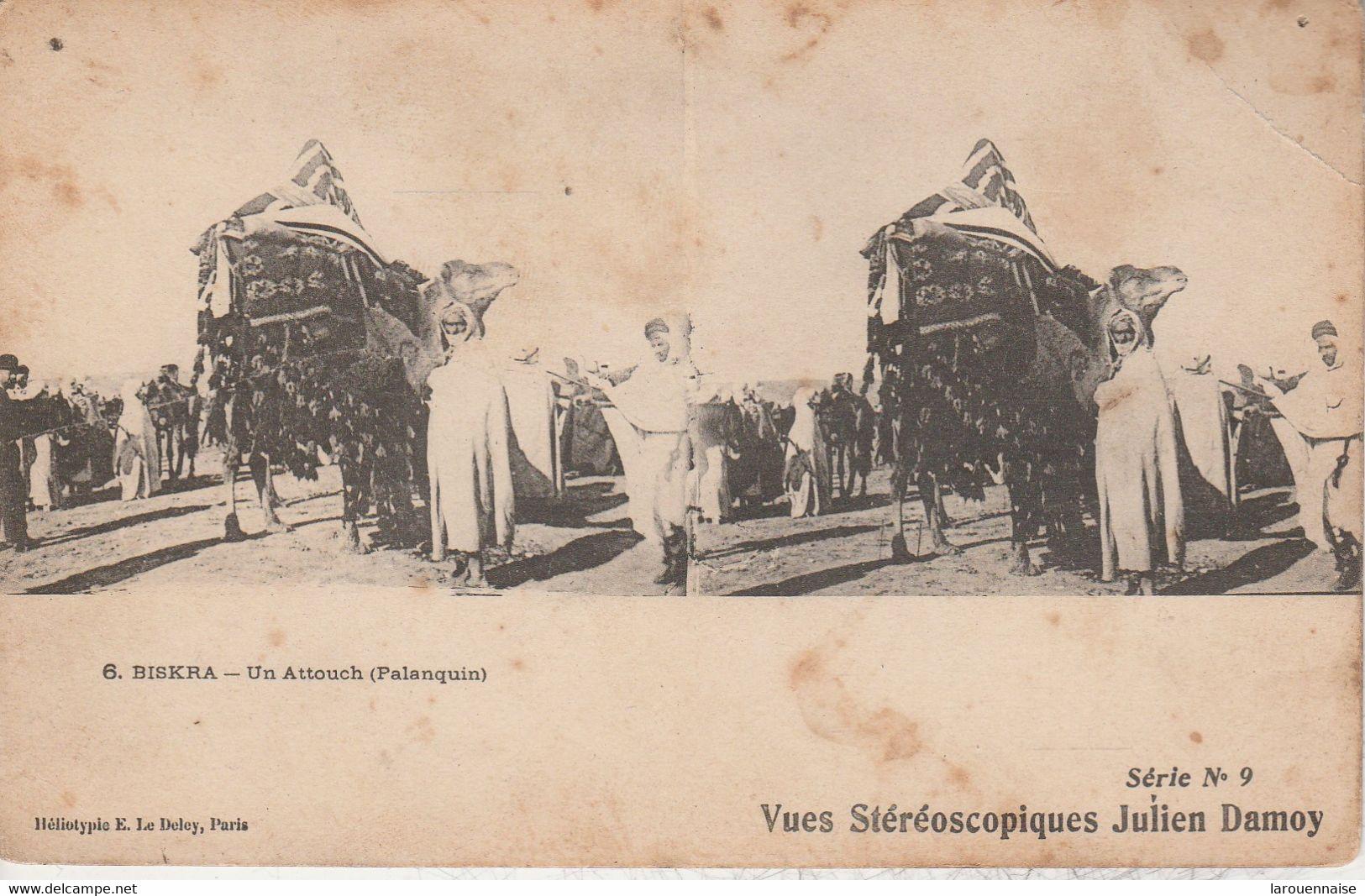 Algérie - BISKRA - Un Attouch (Palanquin) - Vues Stéréoscopiques Julien Damoy - Cartoline Stereoscopiche