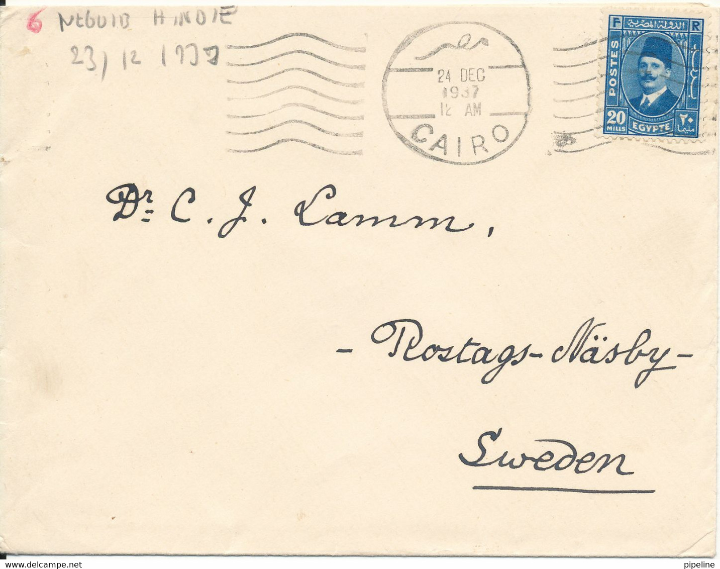 Egypt Cover Sent Air Mail To Sweden Cairo 24-12-1937 Single Franked - Covers & Documents