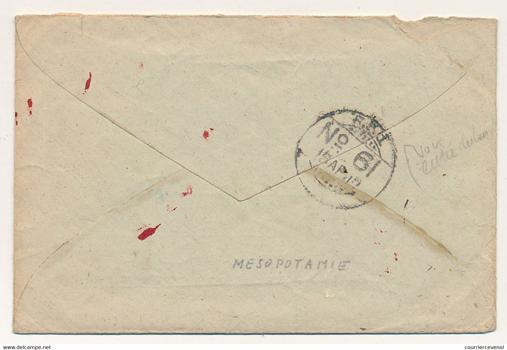 """Enveloppe """"On Active Service"""" + 2 Feuillets En Tête Army YMCA Of India - Mesopotamia Expedionary Force - 1917 - N°61 - Military Service Stamp"""