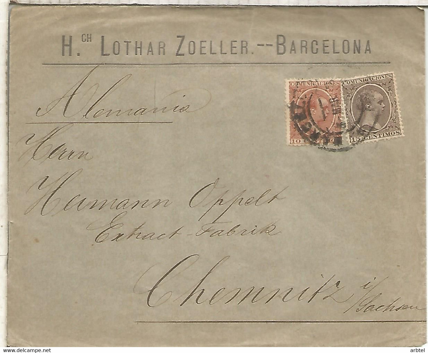 BARCELONA A ALEMANIA CC SELLOS PELON 1895 LLEGADA A CHEMNITZ - Cartas