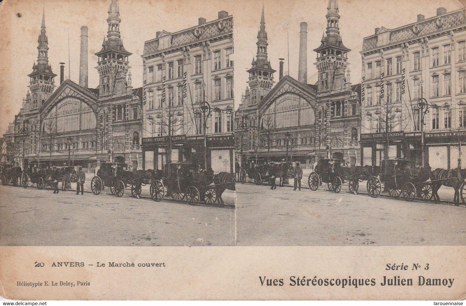 Belgique - ANVERS - Le Marché Couvert - Vues Stéréoscopiques Julien Damoy - Cartoline Stereoscopiche