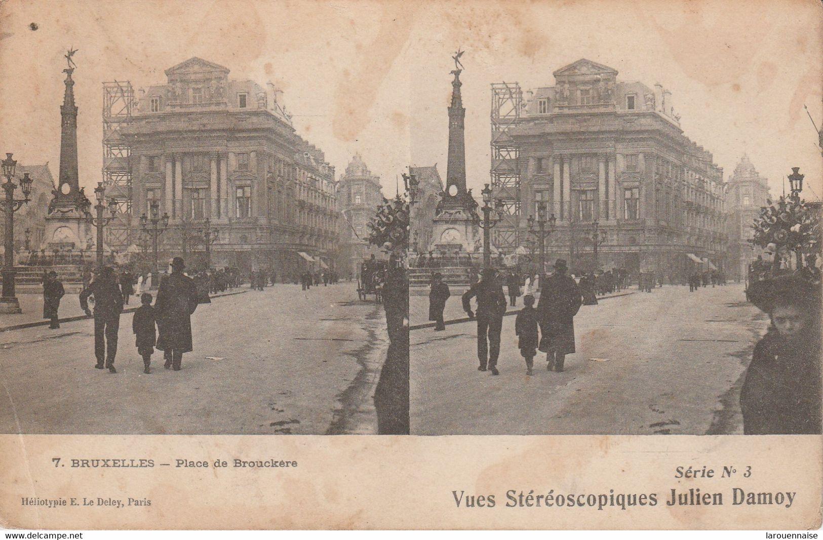 Belgique - BRUXELLES - Place De Brouckere -  Vues Stéréoscopiques Julien Damoy - Cartoline Stereoscopiche