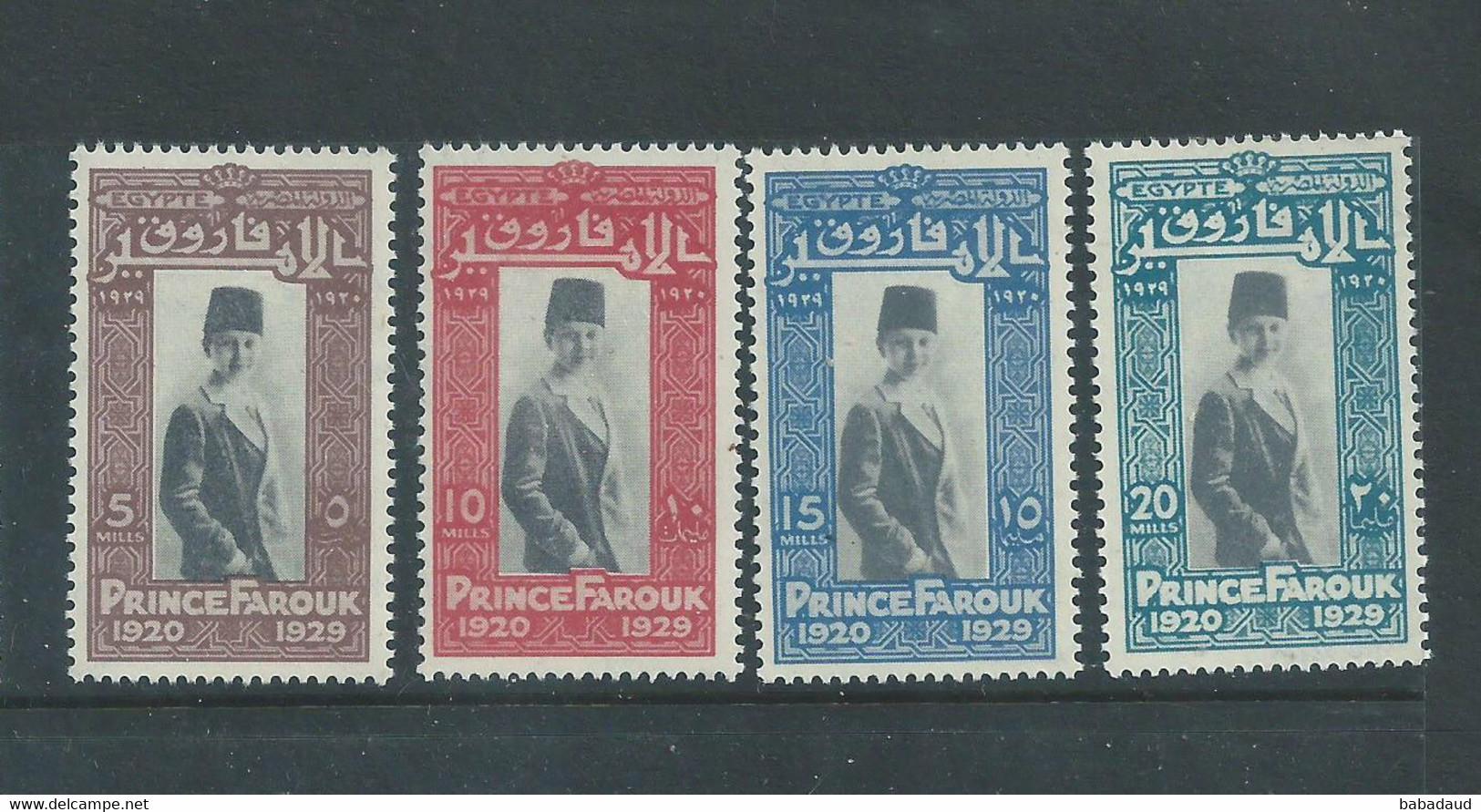 Egypt, 1929, Farouk 9th Birthday, 5m - 20m, MNH** - Unused Stamps