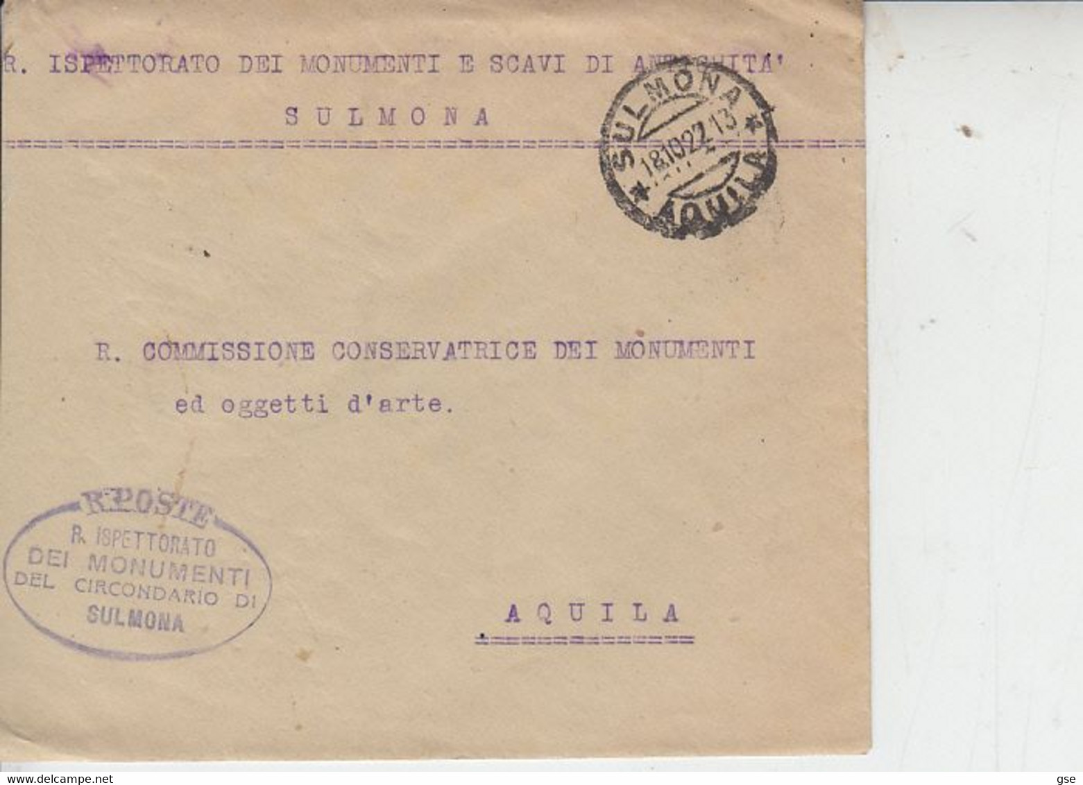 ITALIA  1927 - Ispettorato Monumenti E Scavi Di Antichità  - Sulmona -.- - Archéologie