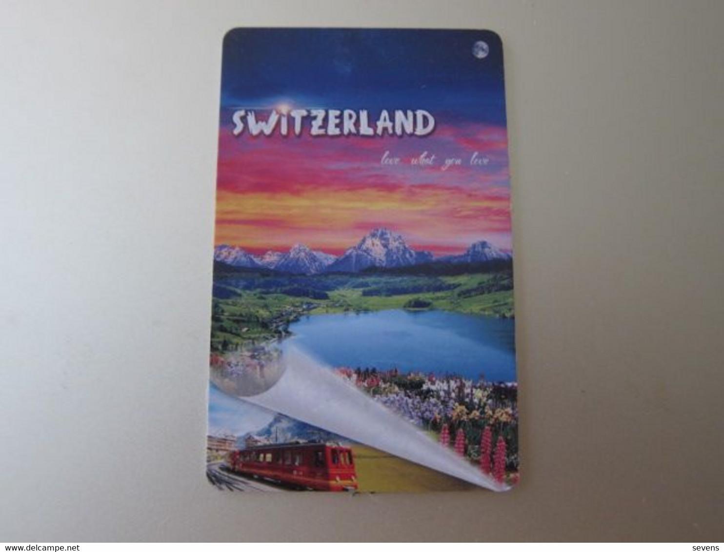 Switzerland Advertisement Card, Train, Mountain, Lake - Unclassified