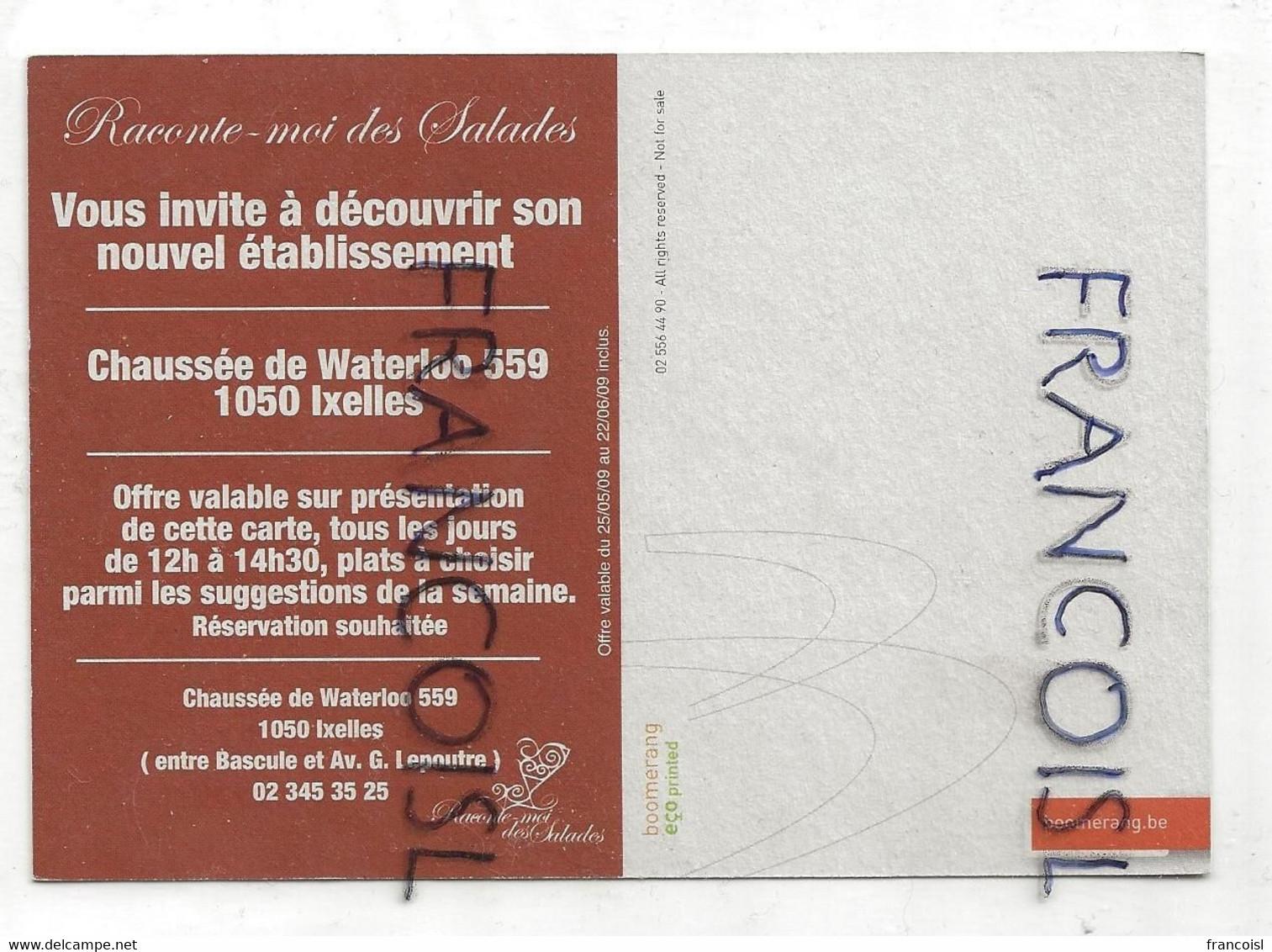 """Carte Boomerang. Publicité Pour Le Restaurant """"Raconte-moi Des Salades"""" - Advertising"""