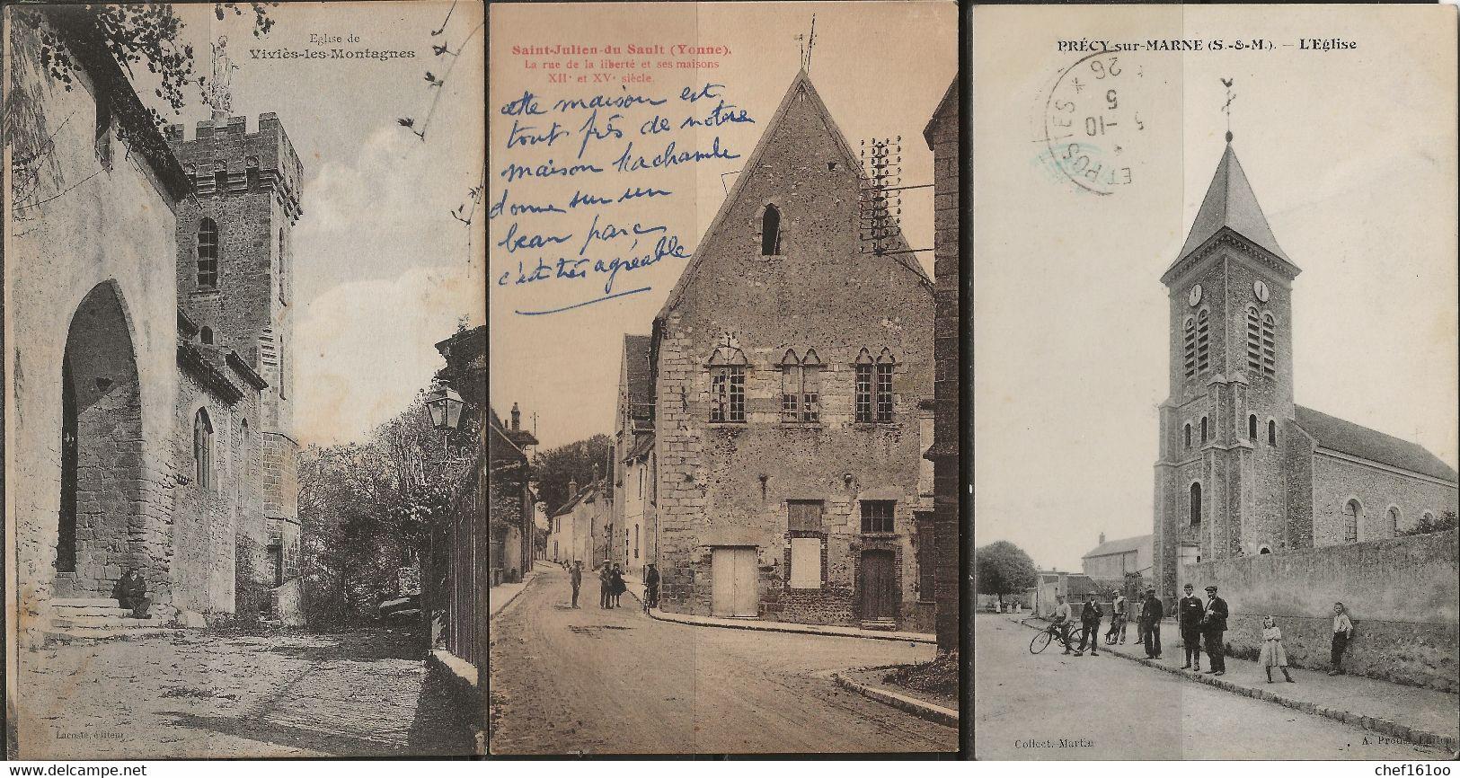 France : Lot De 30 Cartes, Communes Diverses, écrites Et Non écrites. - 5 - 99 Postcards