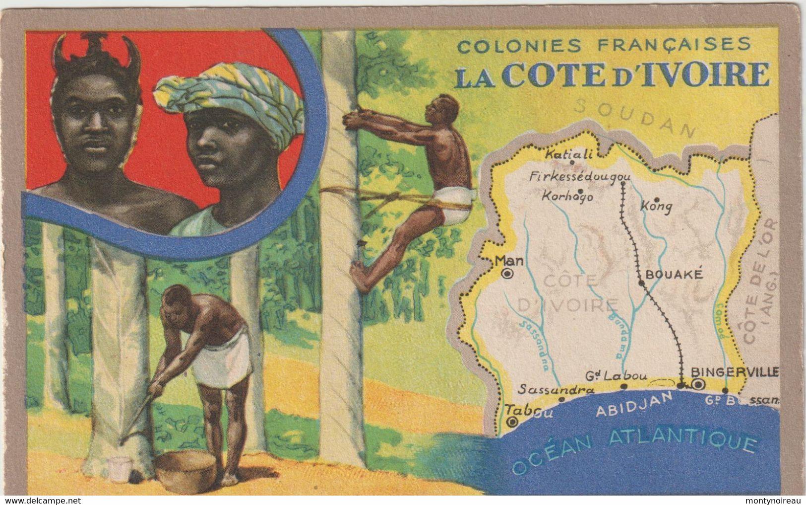Dav : Carte Publicitaire  Du Lion Noir :  Colonies  Françaises ,  La  Cote D ' Ivoire , Man , Bouaké , Kong ,bingerville - Advertising