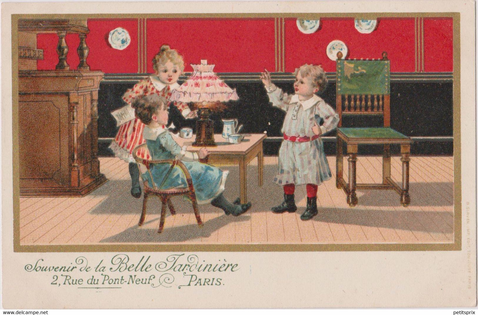 CPA Publicitaire Publicité La Belle Jardinière Paris Enfants Pionnière Dos Non Séparé - Advertising