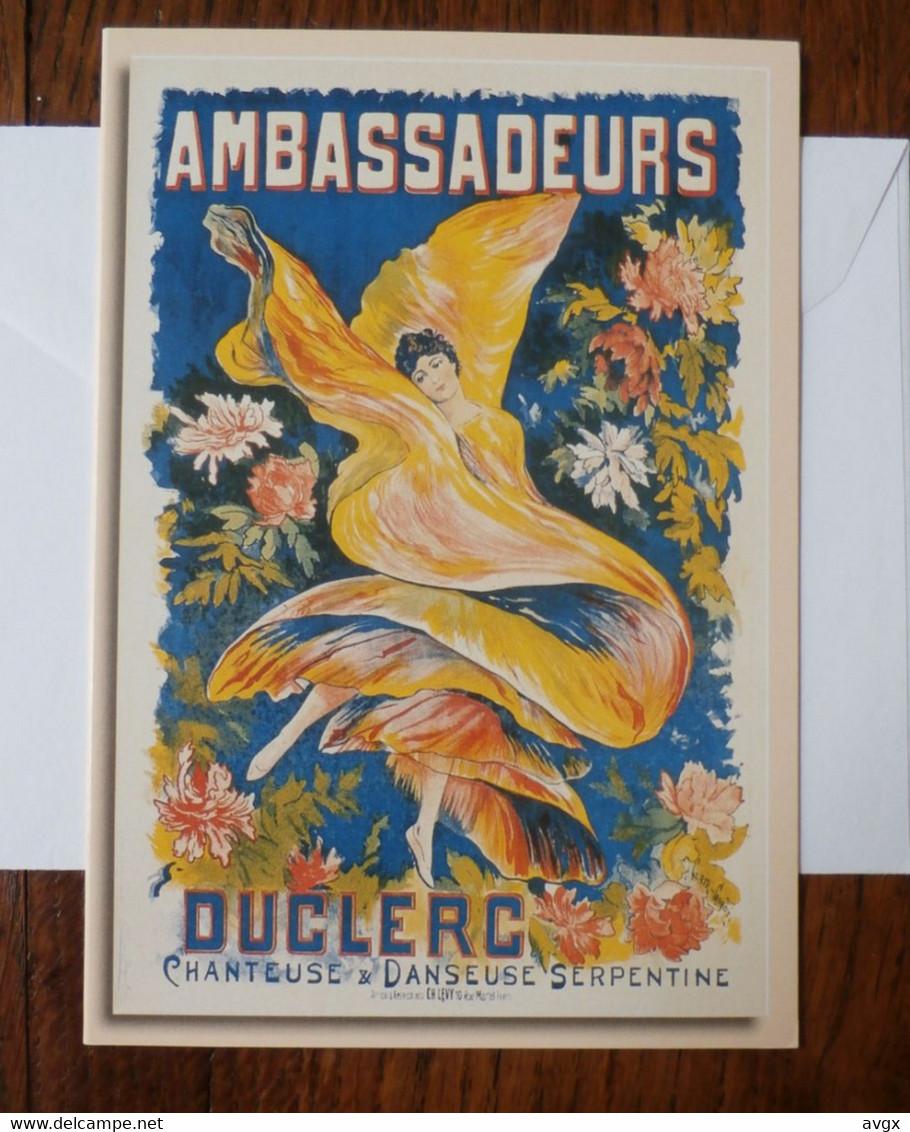 France : Ambassadeurs Duclerc Chanteuse Et Danseuse Serpentine D'après Ernest Clair-Guyot (1895) Double Carte - Advertising