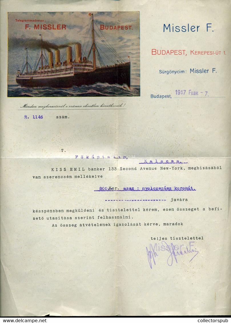 BUDAPEST 1917. Missler F. Kivándorlási Iroda, Céges Levél - Unclassified