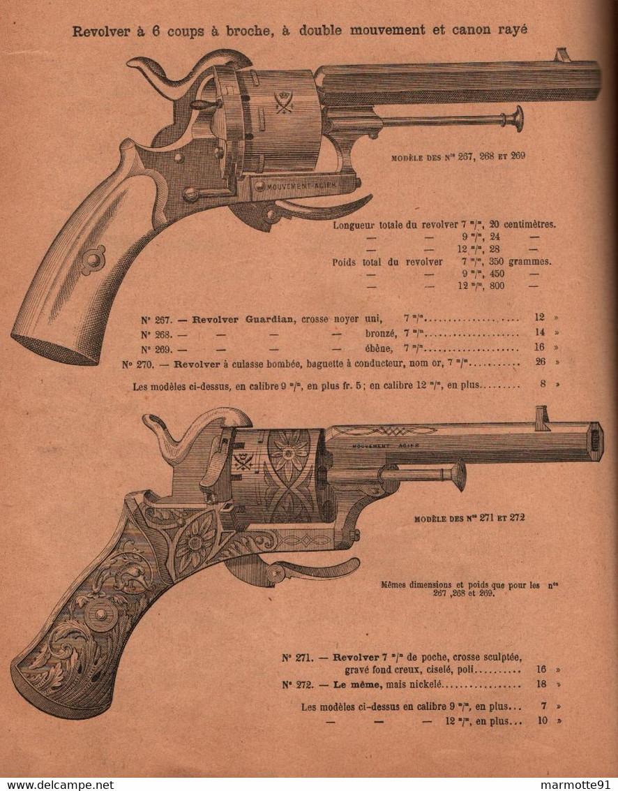 CATALOGUE BRUN LATRIGE MANUFACTURE ARMES SAINT ETIENNE 1887 FUSIL CHASSE REVOLVER MUNITIONS TIR - Armi Da Collezione