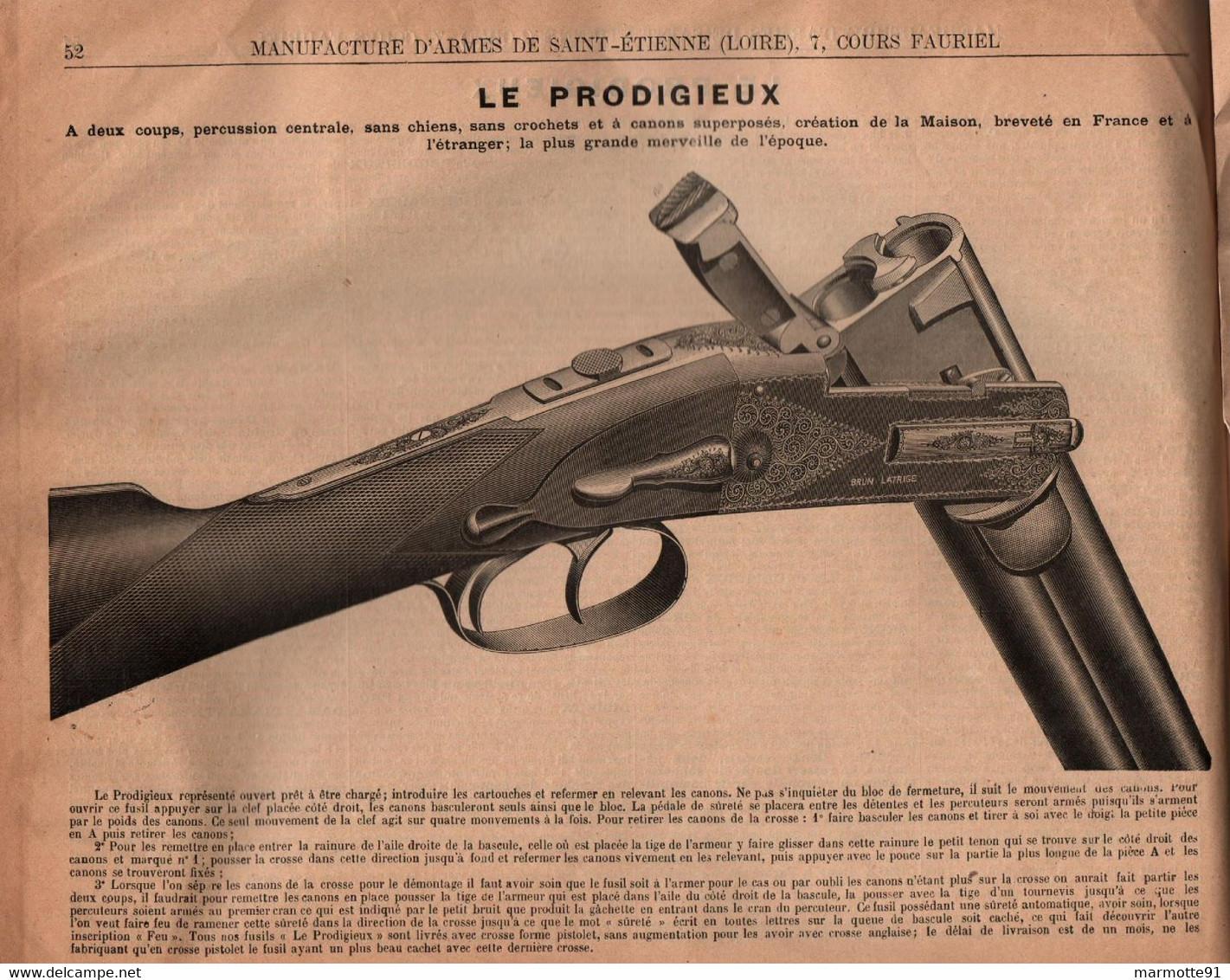 CATALOGUE BRUN LATRIGE MANUFACTURE ARMES SAINT ETIENNE 1891 FUSIL CHASSE REVOLVER MUNITIONS TIR - Armi Da Collezione