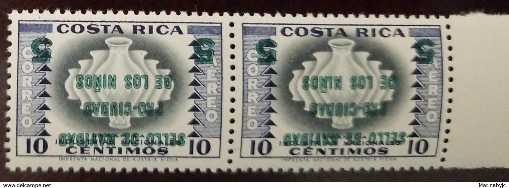 L) 1953 COSTA RICA, INVERTED OVERPRINT, NATIONAL INDUSTRIES, 10 CENTS, CHRISTMAS SEAL FOR CHILD CARE, AIRMAIL - Costa Rica