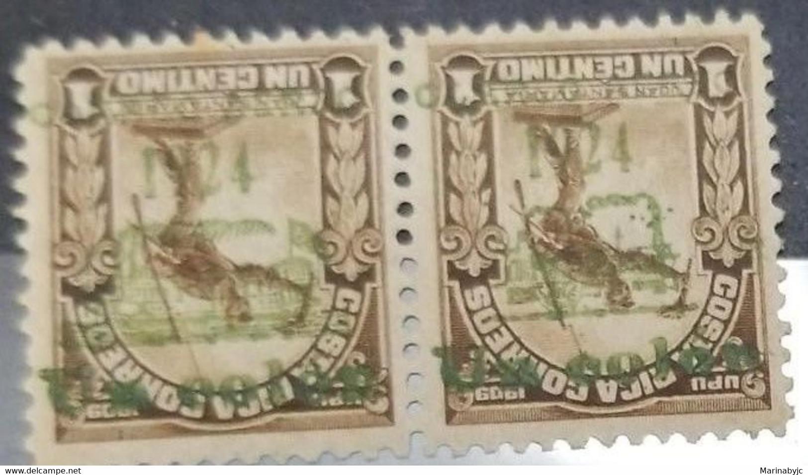 L) 1924 COSTA RICA, UPU, JUAN SANTAMARIA, 1 COLON ON 1910 1C BROWN SURCHARGE ESSAY IN GREEN INVETD: HORIZ PAIR WITH BOTH - Costa Rica
