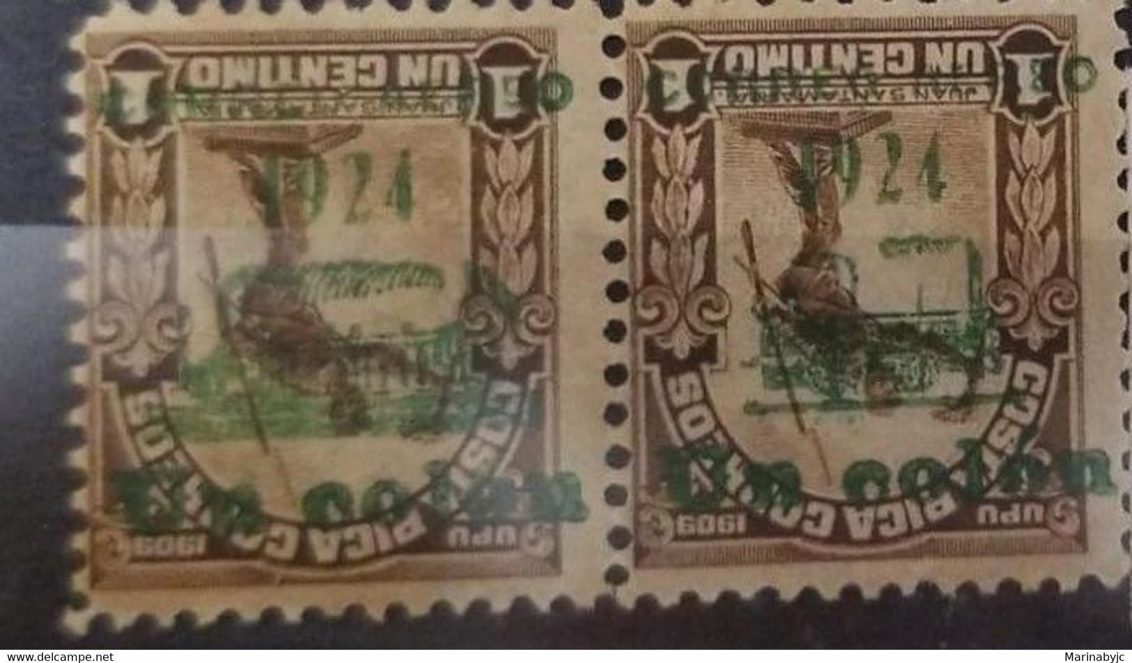 L) 1924 COSTA RICA, JUAN SANTAMARIA, 1 COLON ON 1910 1C BROWN SURCHARGE ESSAY IN GREEN INVETD: HORIZ PAIR WITH BOTH TYPE - Costa Rica