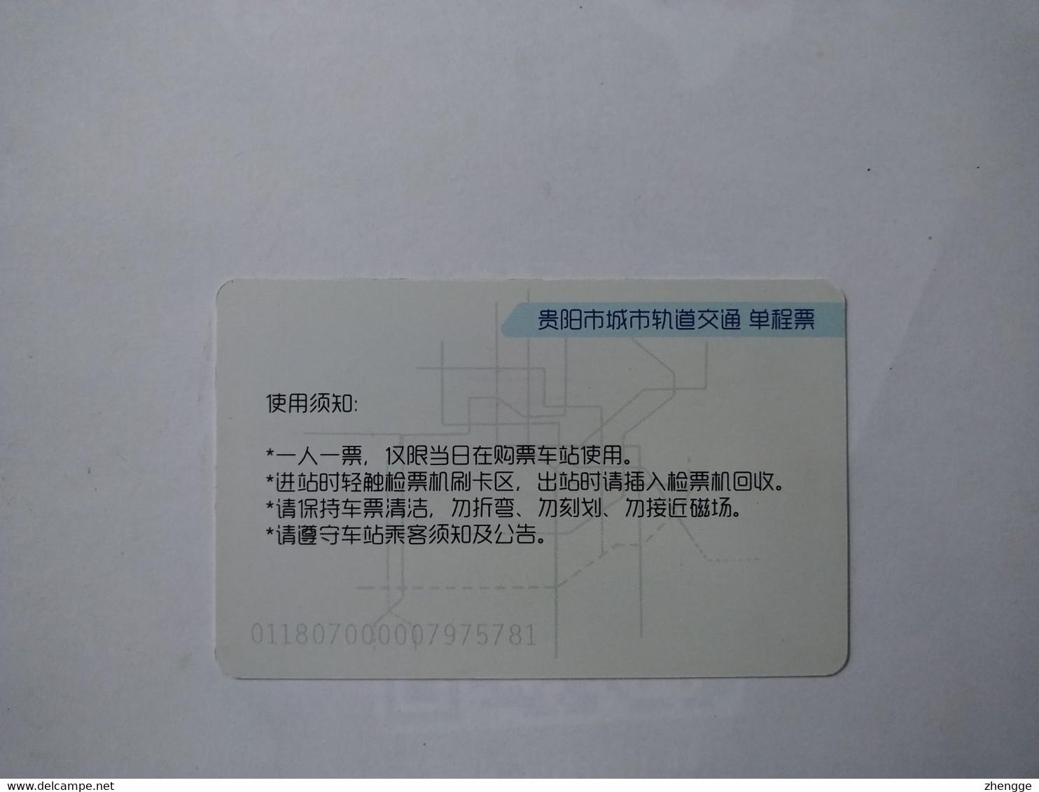China Transport Cards, View,  Metro Card, Guiyang City, (1pcs) - Unclassified