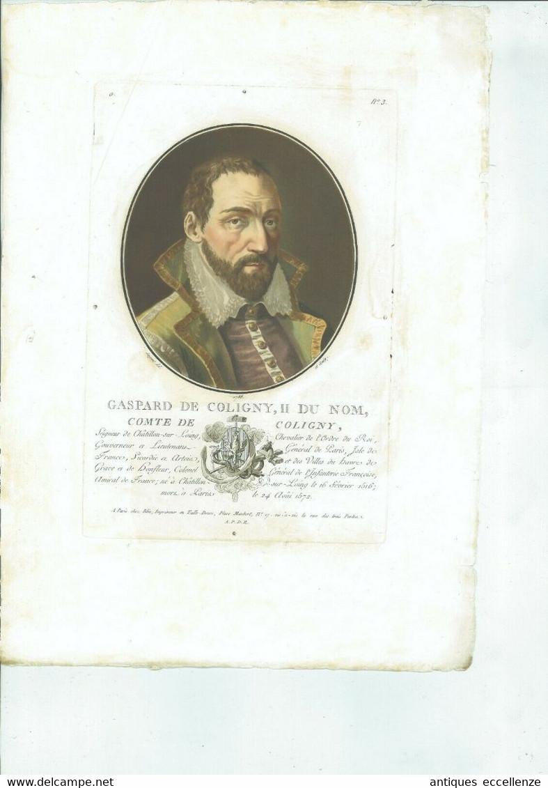 OLD PRINT ANTIQUE ORIGINAL COLOR GRAVURE GASPARD DE COLIGNY GRAFF FRANCE ADMIRAL - Prints & Engravings