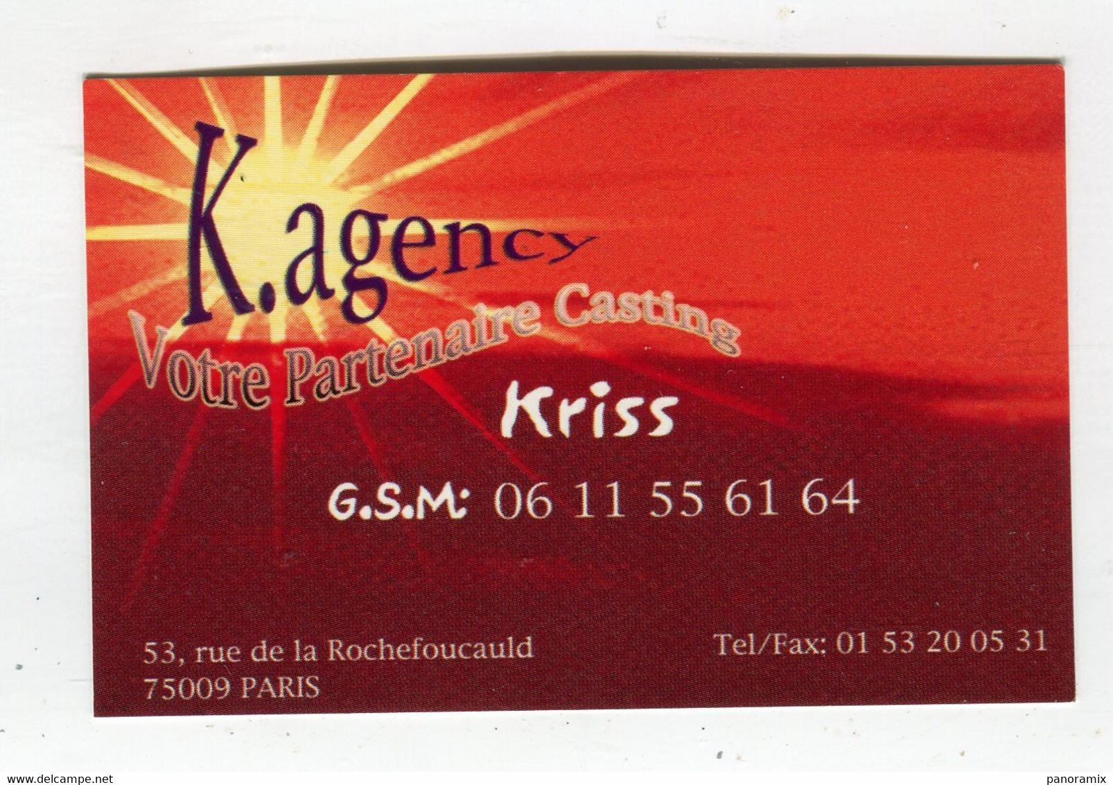 Carte De Visite °_ Carton-K.Agency-Partenaire Casting-Kriss-75009 - Visiting Cards