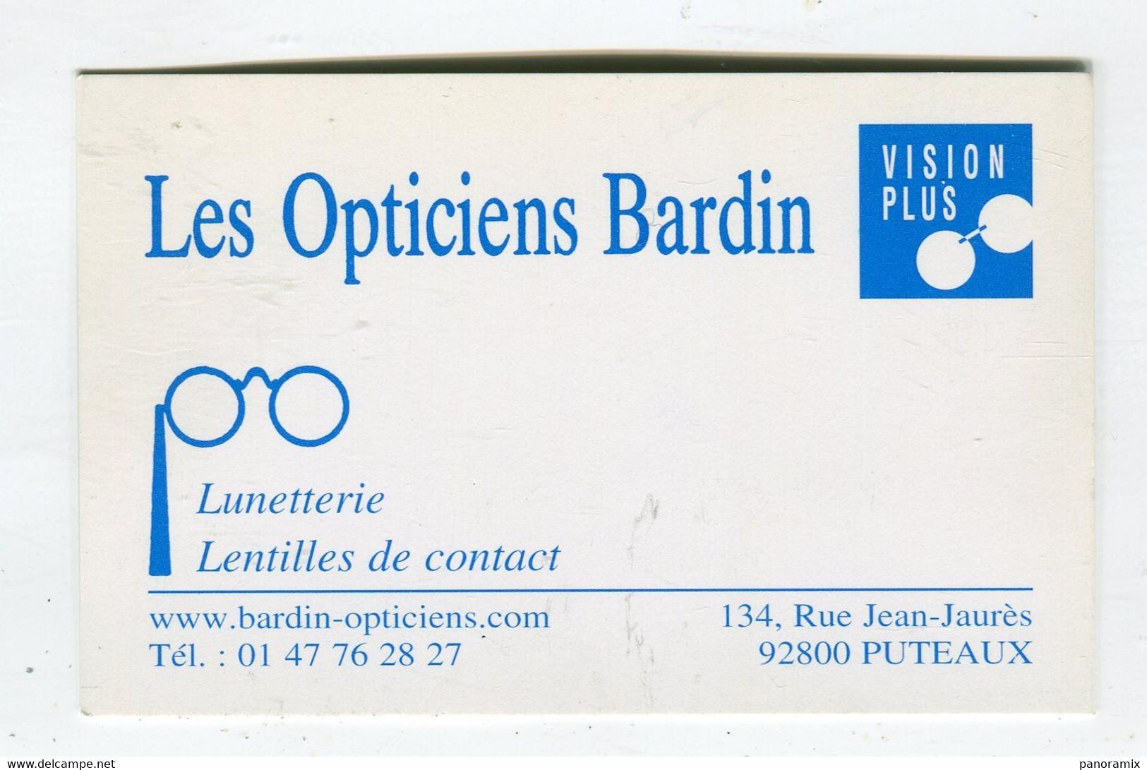 Carte De Visite °_ Carton-Les Opticiens Bardin-92 Puteaux - Visiting Cards