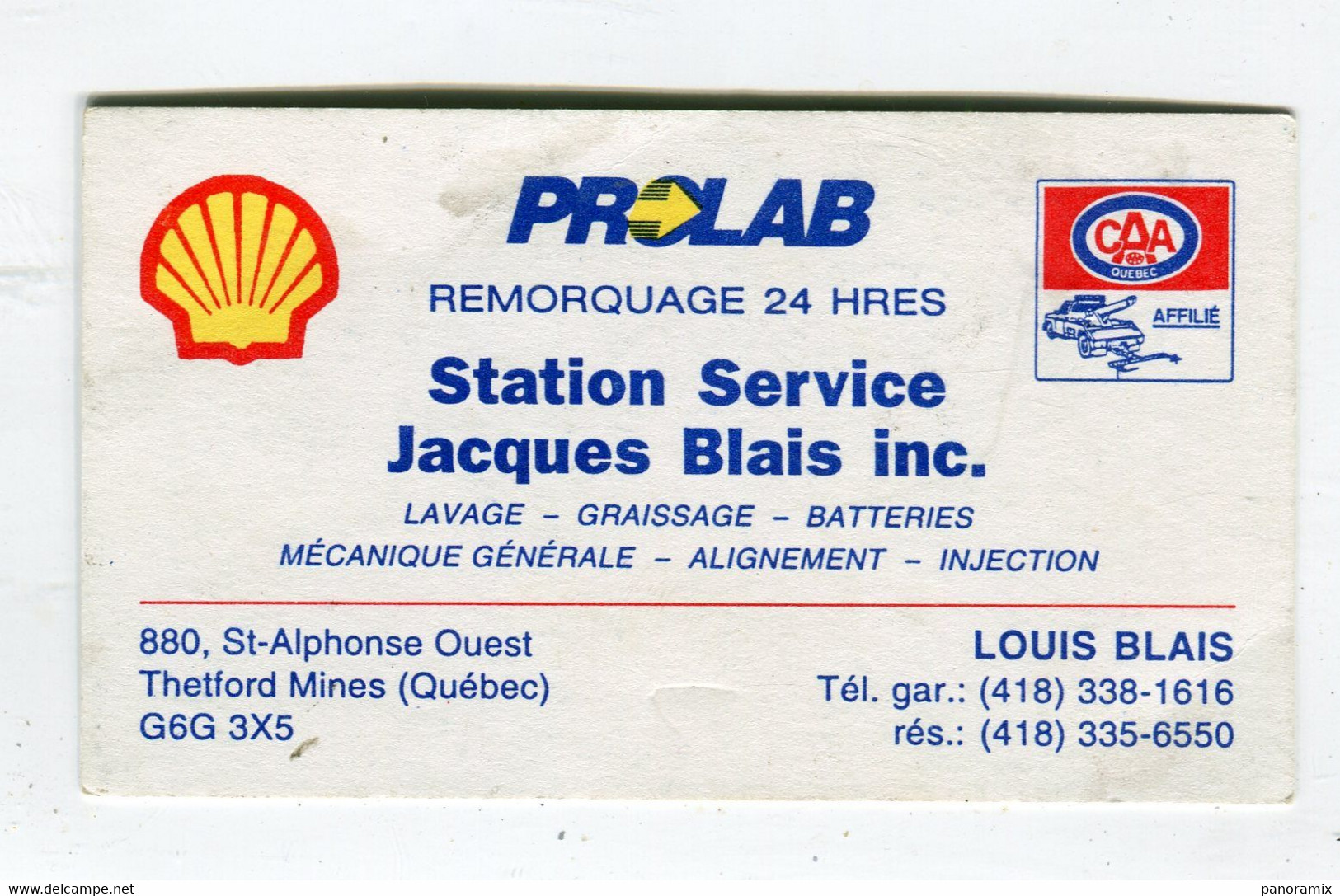 Carte De Visite °_ Carton-Québec-Sation.Service Shell-Prolab-Blais-Thetford - Visiting Cards
