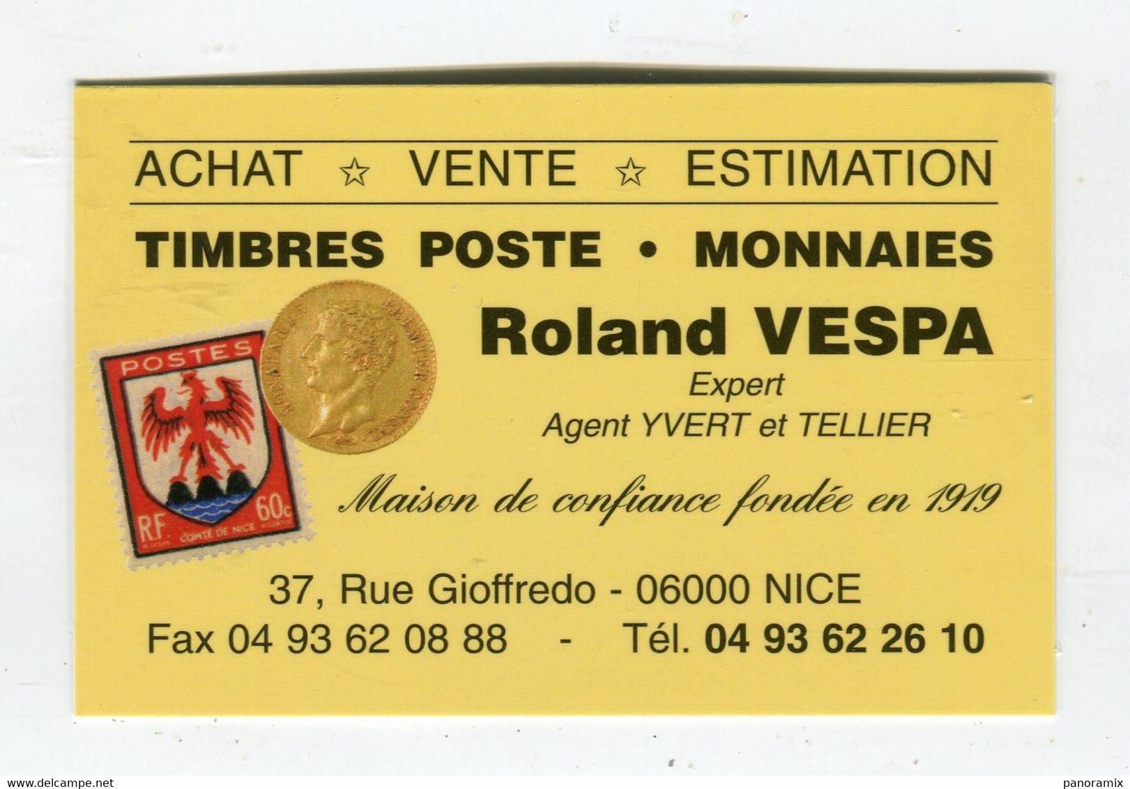 Carte De Visite °_ Carton-Timbres Poste-Monnaies-Roland-06 Nice - Visiting Cards