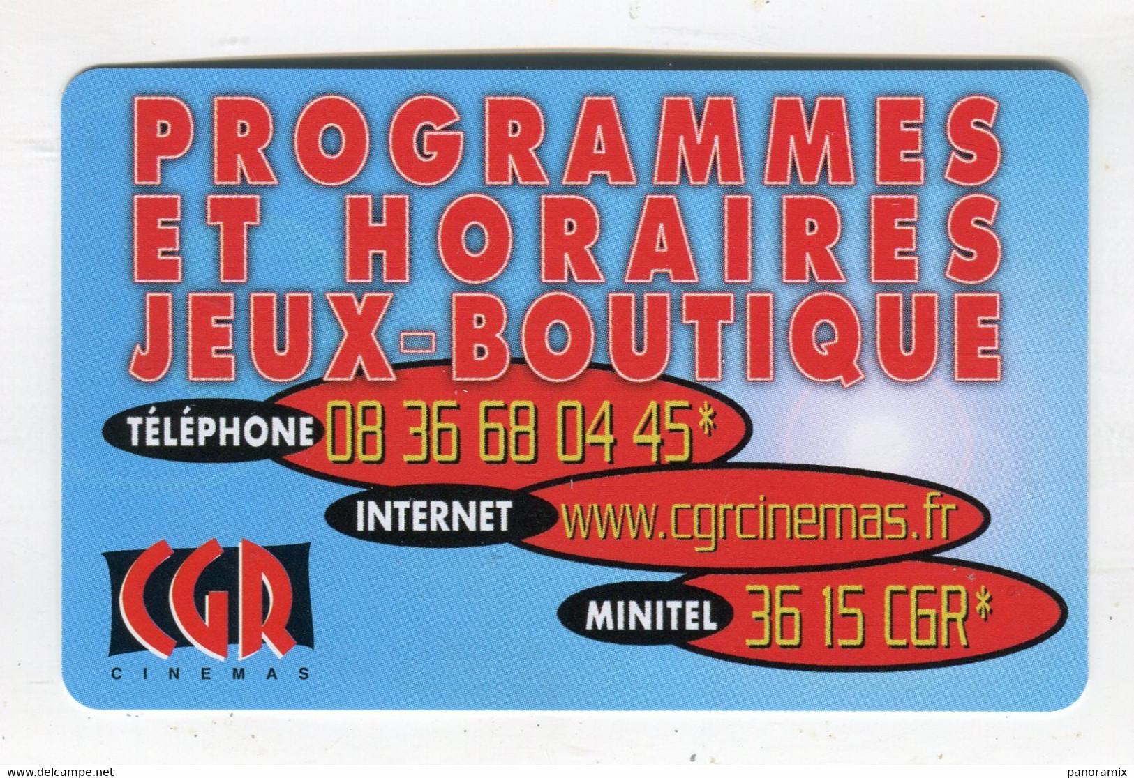 Cartede Visite °_ Carton-Cinémas CGR-Programmes Et Horaires-3615 CGR - Visiting Cards