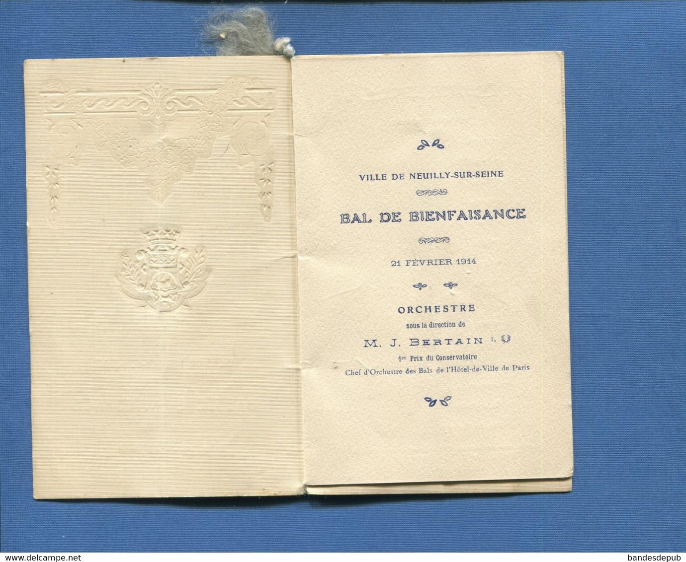 Département 92 Neuilly-sur-Seine Carnet De Bal De Bienfaisance 1914 Orchestre Bertain - Visiting Cards