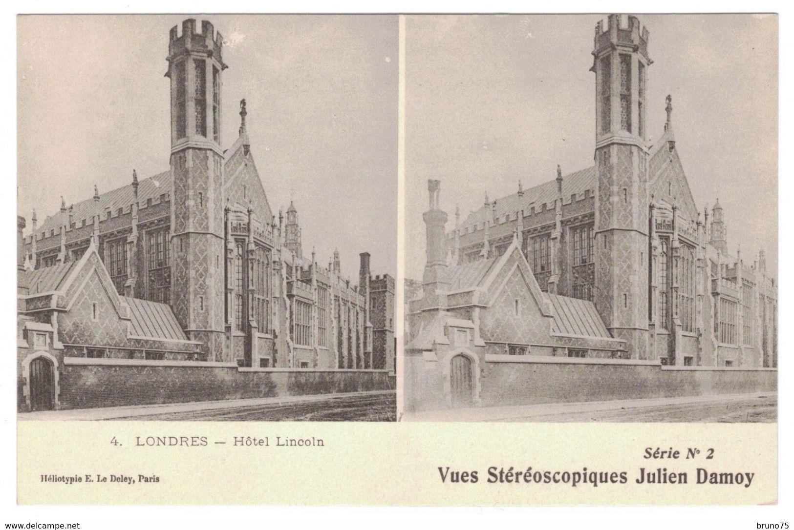 LONDRES - Hôtel Lincoln - Vues Stéréoscopiques Julien Damoy - 4 - Série N° 2 - Cartoline Stereoscopiche