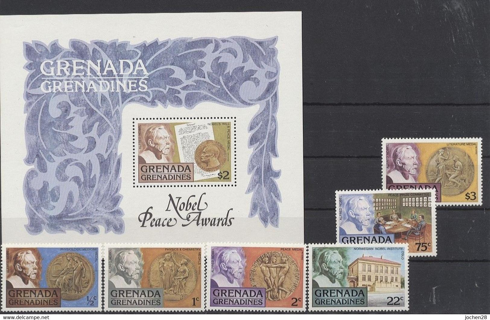 Grenada/Grenadinen 1978 - MiNr. 260/5 Block 32 - Nobelpreis - Postfrisch - MNH - ** - Grenada (1974-...)